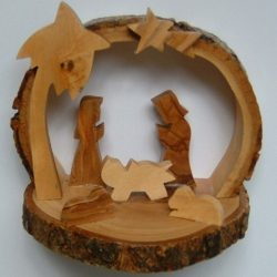 olive wood nativity cave - bark
