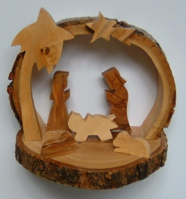 olive wood nativity cave - bark