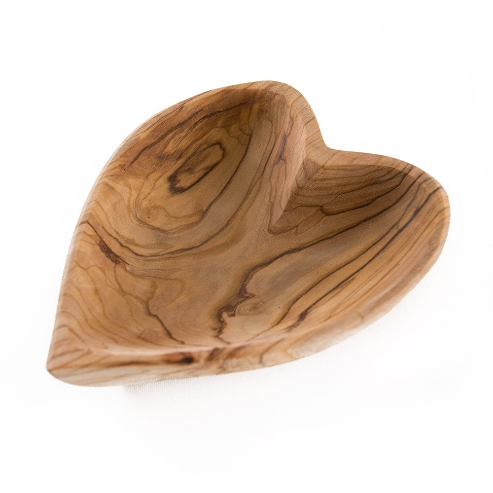 Heart shaped olive wood bowl