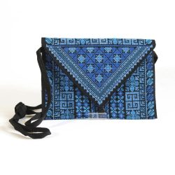 Fully embroidered evening bag, blue
