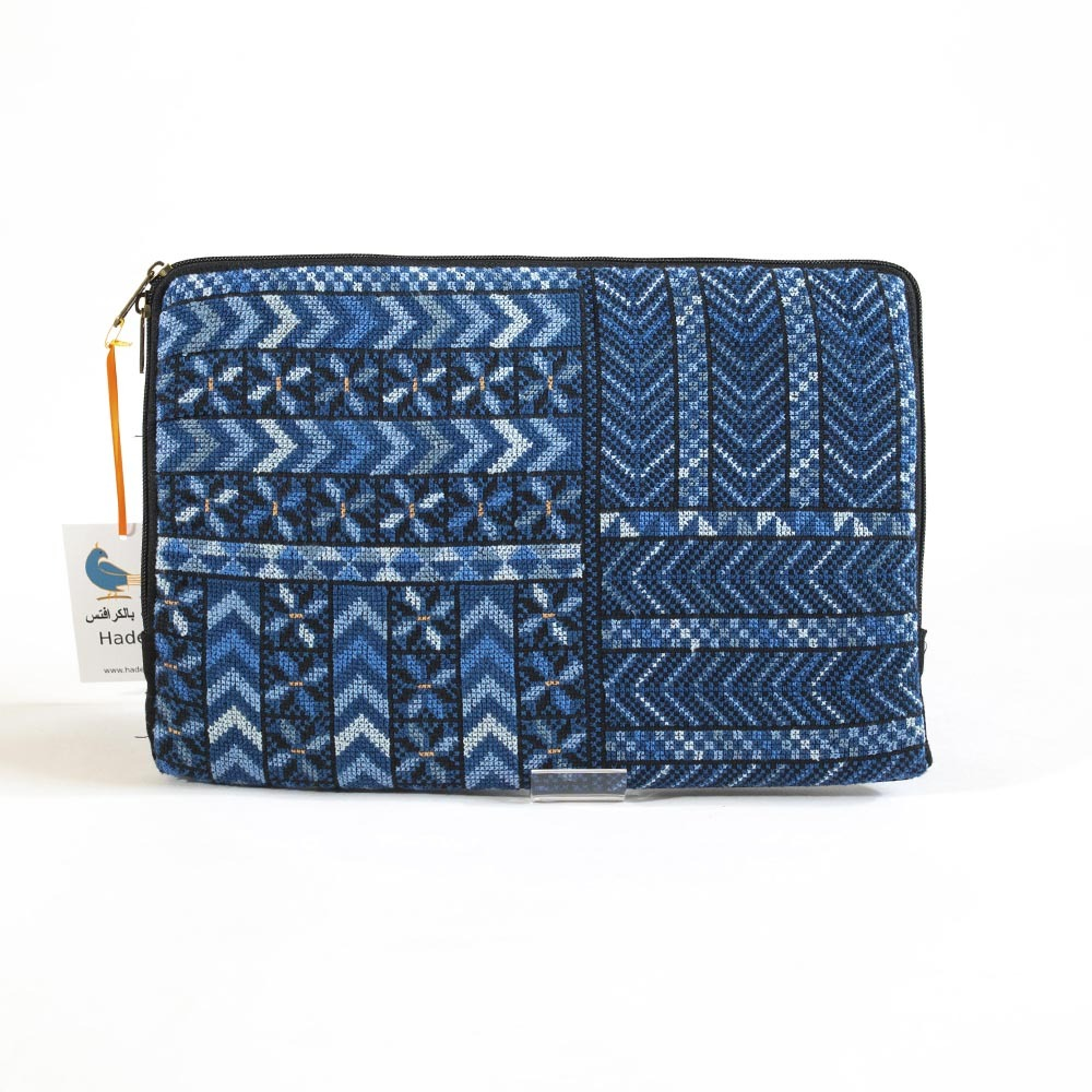 Embroidered tablet cvase, tiled pattern, blue