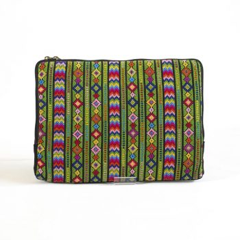 Embroidered tablet case, tiled green